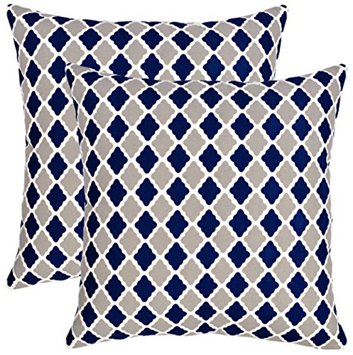 Isabella Beddings Morrocan Trellis Throw Pillow Case Cover 100% Cotton Cushion Covers Square Eco-Friendly Home Decor for Sofa Couch Bed Navy Grey 20x20 inch 50cm x 50cm Pack of 2