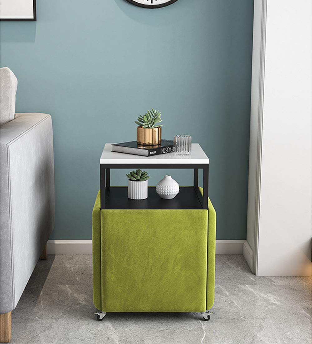 XJIANQI Fem-i-ett-litet soffbord svit multifunktionell vardagsrum mobilskåp enkel kubisk stol liten fyrkantig bordsförvaring, C a