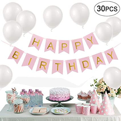 Pink Happy Birthday Banner Letter Balloons Decorations Kit 30 Pcs White 12inch To DIY
