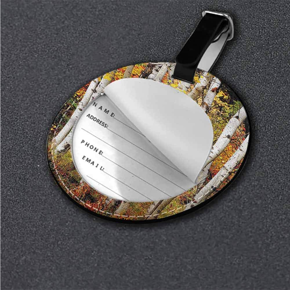 Baggage Tag Fall,Wet Maple Leaves Nature Suitcase Tag
