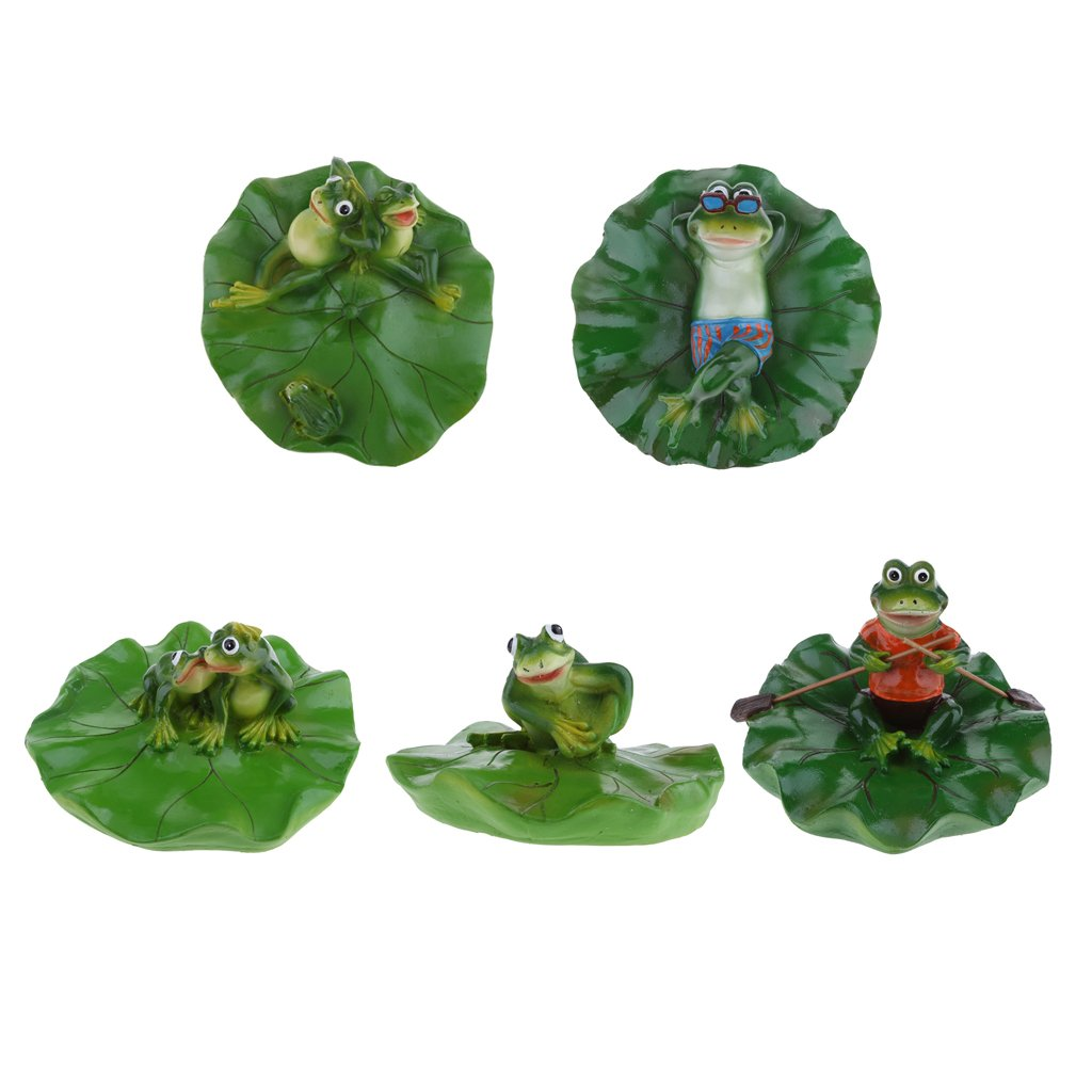 D DOLITY 5x Creative Animal Ornament Water Floating Frog on Lotus Leaf Figurine Resin Green Plants Kid Toys Fountain Decoration Garden Decor