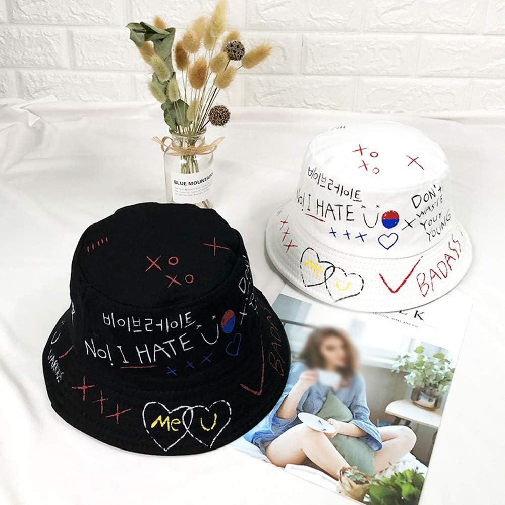 Ss-Lqlhy Creative Graffiti Folding Anti-Sunlight Fisherman Hat、 Outdoor Men、 Women 、Hip Hop Bucket Cap