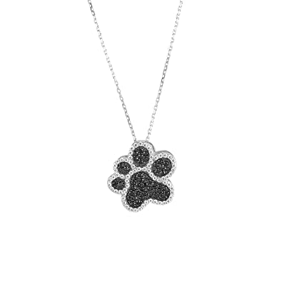 Amazon sterling silver black white cz dog paw print pendant sterling silver black white cz dog paw print pendant with 18quot aloadofball Images