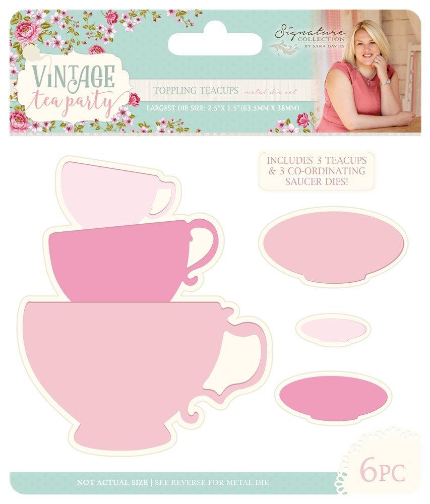 Sara Signature vintage Tea Party die-toppling tazze da tè , metallo, argento, 16.8 x 14.3 x 0.2 cm 16.8x 14.3x 0.2cm Crafter' s Companion S-VTP-MD-TOPT