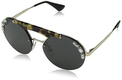 Prada 0PR52US I8N5S0, Gafas de Sol para Mujer, Dorado (Pale Gold/Medium Havana/Grey), 37