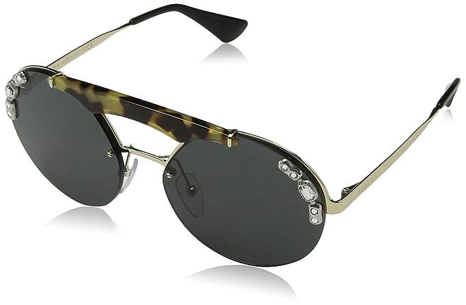 Prada Damen Sonnenbrille 0PR52US I8N5S0, Gold (Pale Gold/Medium Havana/Grey), 37