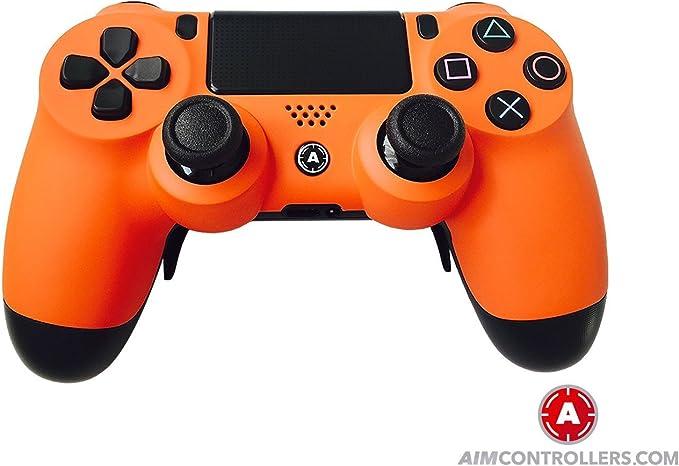PS4 Slim DualShock 4 PlayStation 4 Wireless Controller - Custom AimController Orange Matt Design with Paddles. Left X, Right O: Amazon.es: Videojuegos