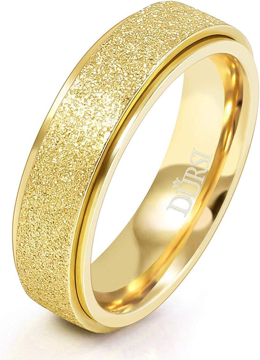 DURSI Spinner Ring for Women Men Fashion Stainless Steel Fidget Ring for Anxiety Sand Blast Finish 6MM 8MM