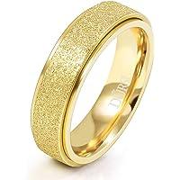 DURSI Spinner Ring for Women Men Fashion Stainless Steel Fidget Ring for Anxiety Sand Blast Finish 6MM / 8MM