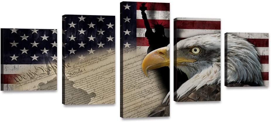 """5 Piece Bald Eagle American Flag Canvas Painting USA Statue of Liberty Flag Wall Art Vintage Poster Patriotic Picture Red Blue White Print Artwork Home Decor for Living Room Bedroom Office (60""""Wx32""""H)"""