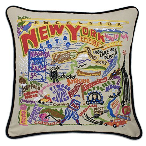 Catstudio New York State Hand-Embroidered Throw Pillow | Geography Collection | 20