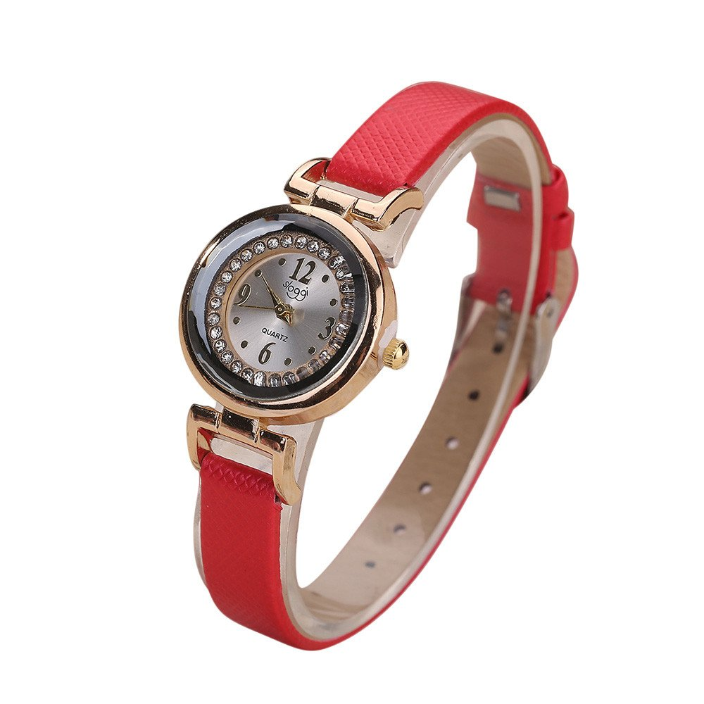 Zaidern Womens Leather Watches Unique Diamond Analog Quartz Fashion Clearance Lady Watches Female Watches on Sale Casual Wrist Watches for Women Round Dial Case Comfortable PU Leather Watch