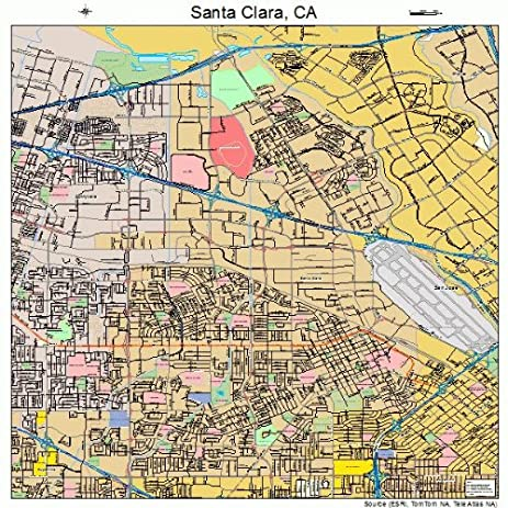 Amazoncom Large Street Road Map of Santa Clara California CA