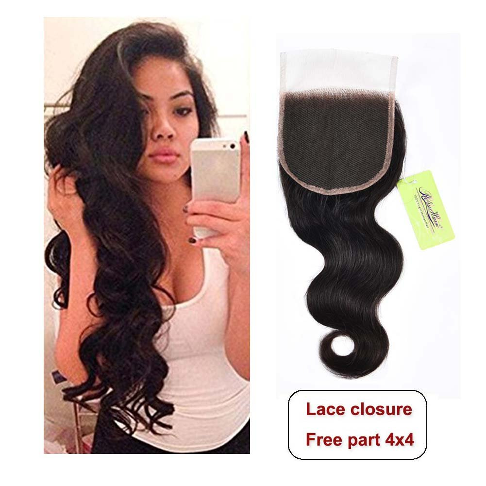 Indian Body Wave Lace Closure, Re4U Unprocessed Virgin Human Hair 4x4 Lace Closure Free Part Top Swiss Light Brown Lace Made Closure(Natural Black Color 16inch 50g)
