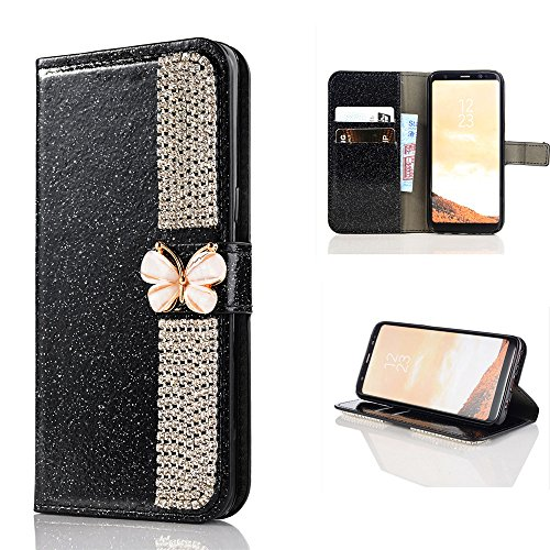 Price comparison product image Wallet Making Elaco Leather Card Magnetic Case Cover For Samsung Galaxy S8 5.8inch/S8 Plus 6.2inch (Black, S8 5.8inch)