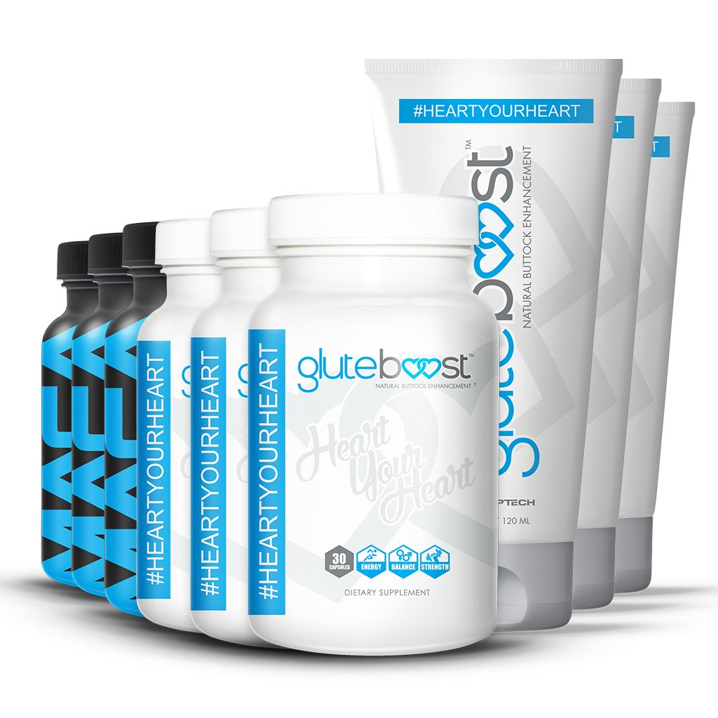 Gluteboost Butt Enhancement Booty Boost Kit - 100% all natural supplements   Starter kit of all 3 Gluteboost products for a bigger butt and hips fast. (3)…