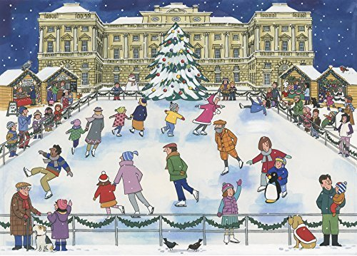 Alison Gardiner Famous Illustrator Unique Traditional Advent Calendar  - Designed in England - Beautiful Festive Scene of Villagers Ice Skating