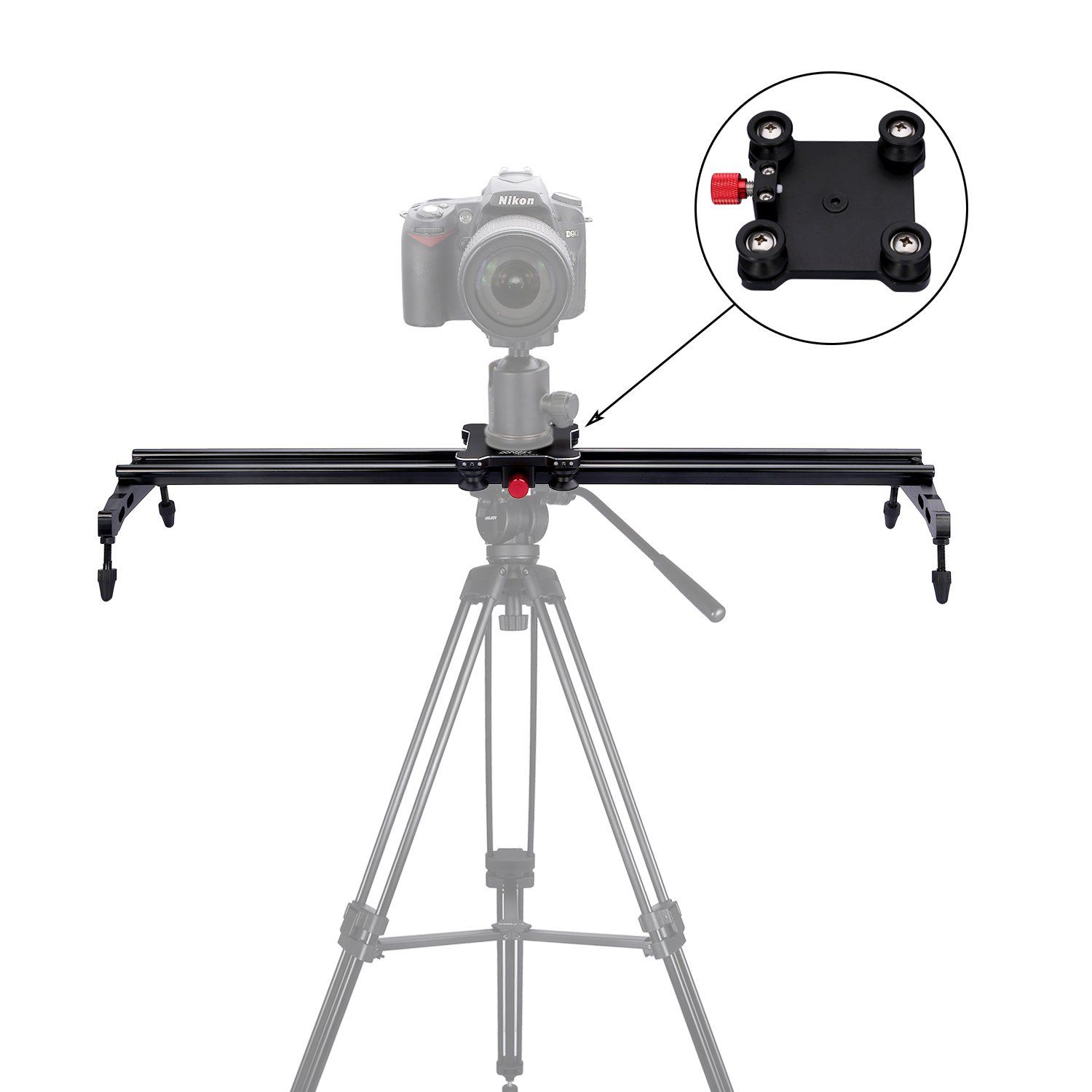 pangshi 24'' Camera Slider Dolly Track Glider System with Roller Bearing for DSLR Video Camera
