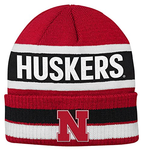 NCAA Nebraska Huskers Youth Boys Wordmark Stripe Knit Hat, 1-Size, University Red