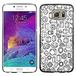 FECELL CITY // Duro Aluminio Pegatina PC Caso decorativo Funda Carcasa de Protección para Samsung Galaxy S6 SM-G920 // Pen Black Diamonds Jewels Pattern Bling