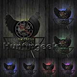 Cheap The Geeky Days Funny Chicken Silhouette Wall Clock Farm Fresh Eggs Farmhouse Style Rooster Vintage Record Clock Modern Animal Wall Art (with LED)