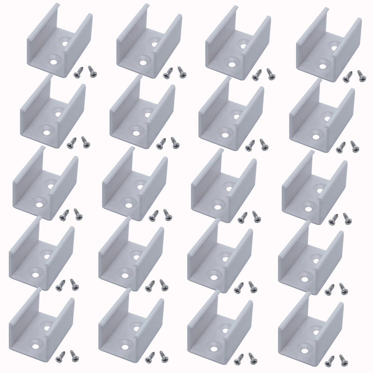 Litever 180 Degree Seamless Extension Connectors for Litever Deep Aluminum Channels Connection/Jonint,Screws Included,20 Pack LL-007-180A [20 Pack]