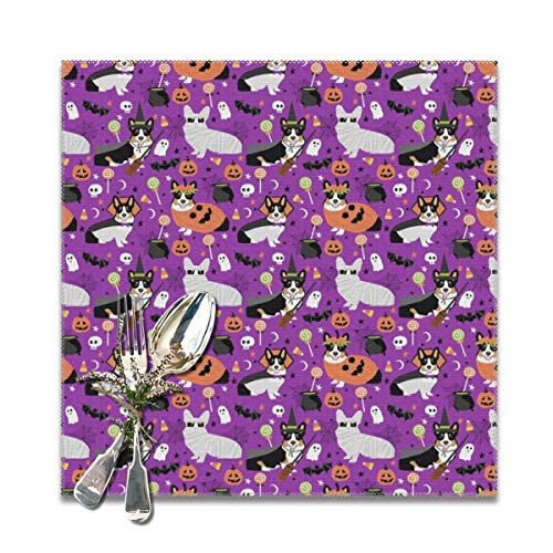 Placemats,tri-colored corgi halloween costumes mummy vampire ghost just dog (smaller version) Heat-Resistant Washable Cotton Placemats,Polyester Linen Dining Table Mats for Kitchen,Set of 6,12x12 inch -
