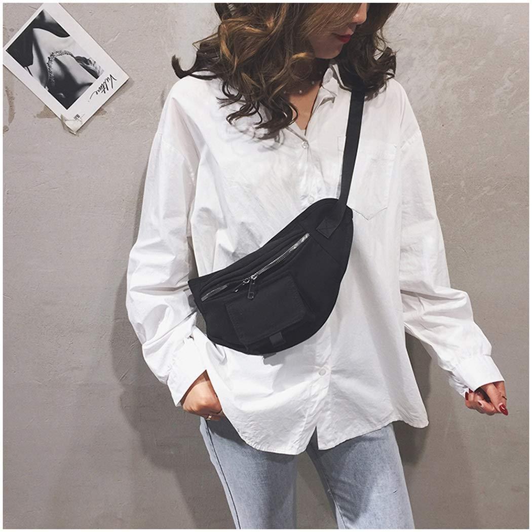 Color : Black, Size : 20175cm OUSHINA 2019 New Ins Tide Korean Students Wild Messenger Fashion Pockets Chest Bag