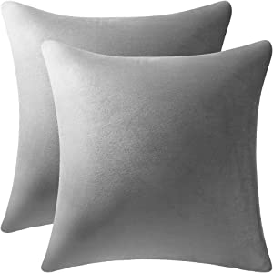 DEZENE Decorative Pillow Cases 16x16 Light-Grey: 2 Pack Cozy Soft Velvet Square Throw Pillow Covers for Farmhouse Home Decor
