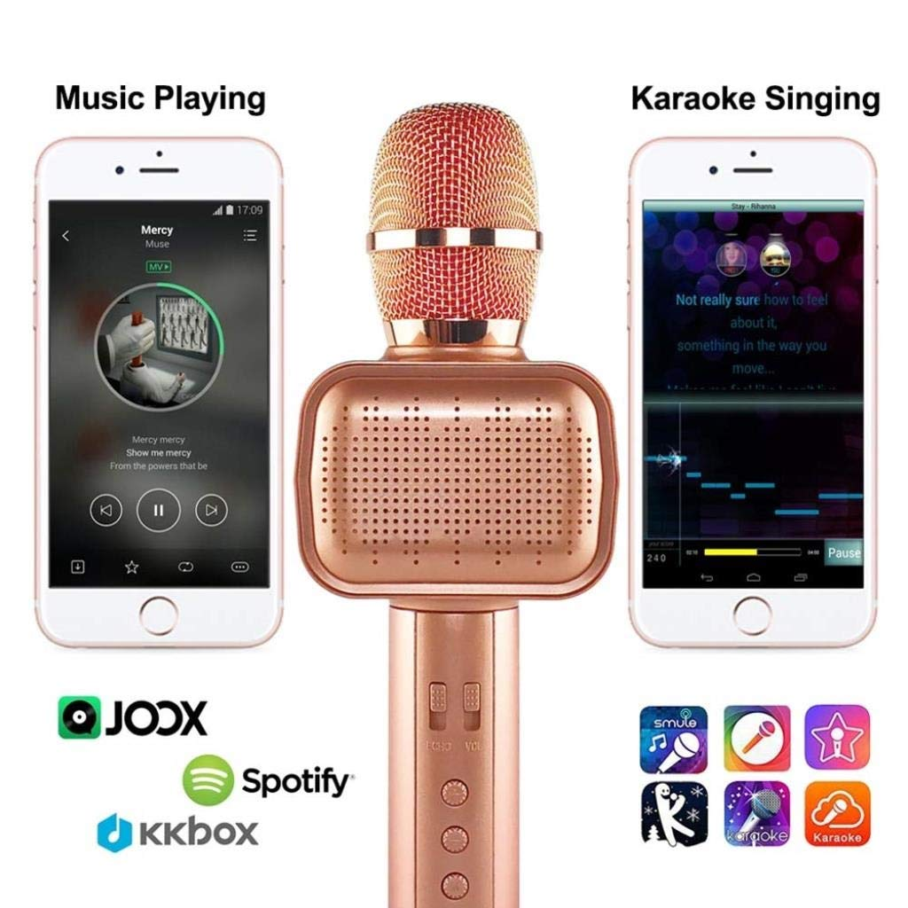 Rsiosle Wireless Bluetooth Karaoke Microphone with Disco Light Karaoke Machine Bluetooth Speaker Home KTV Music Player Handheld Mic Compatible with Android and iOS ( Color : Pink ) by Rsiosle (Image #5)