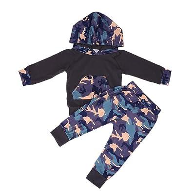 2pcs Automne bébé garçon Camouflage Sweat à capuche + Pantalons tenues Set (90cm)
