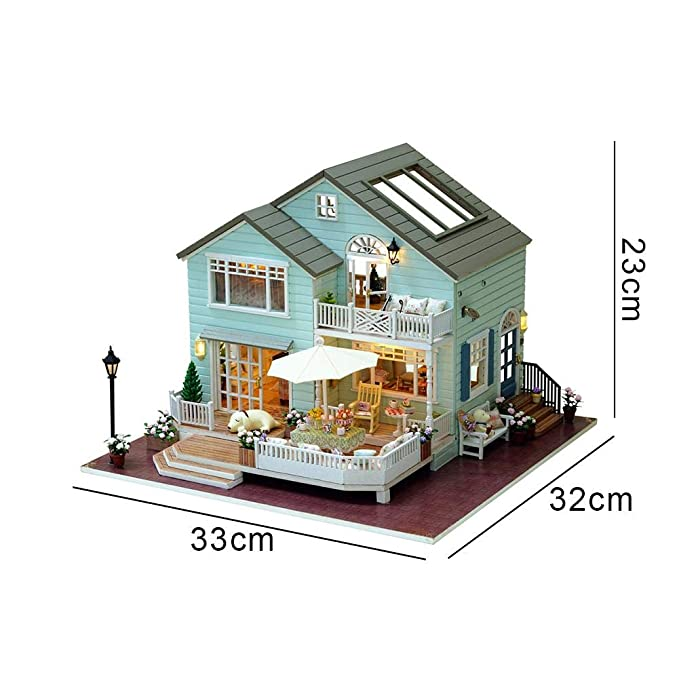 Casa de muñecas de madera para montar en casa de muñecas, casa de muñecas hecha a mano, regalo de cumpleaños innovador, Queens Town: Amazon.es: Bricolaje y ...