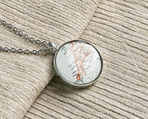 1899 Cornwall map Necklace United Kingdom map Pendants UK Keychains Meaningful Birthday Gift for him ()