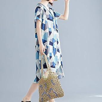 CAOQAO Damska Elegant Festliche Kleider Cocktail Kleid Damska Retro LäSsige V-Ausschnitt Kurzarm Stickerei Baumwolle Leinen Lose Kleid: Odzież