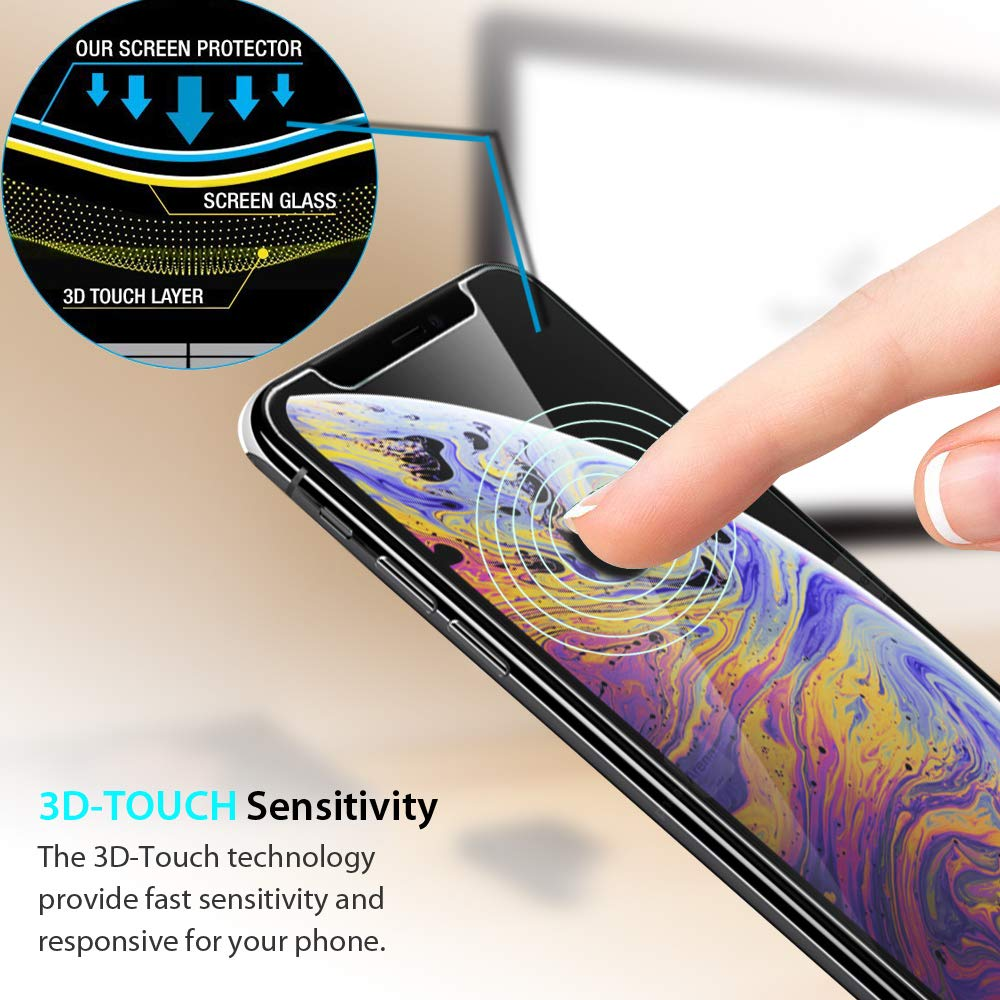 Amazon.com: Zeking Tempered Glass Screen Protector Compatible iPhone Xs Max 6.5 inch - 2 Pack: Cell Phones & Accessories