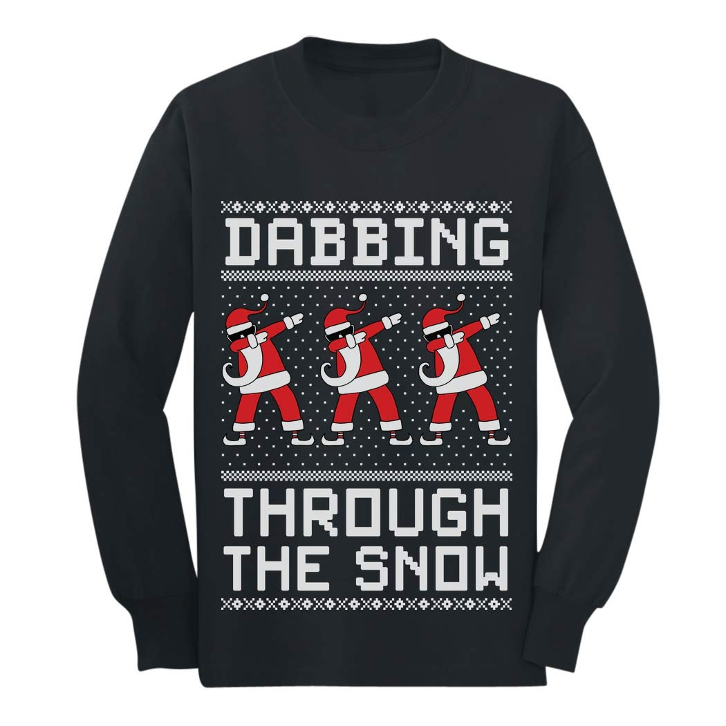 Dabbing Through The Snow Santa Christmas Dab Youth Kids Long Sleeve T-Shirt