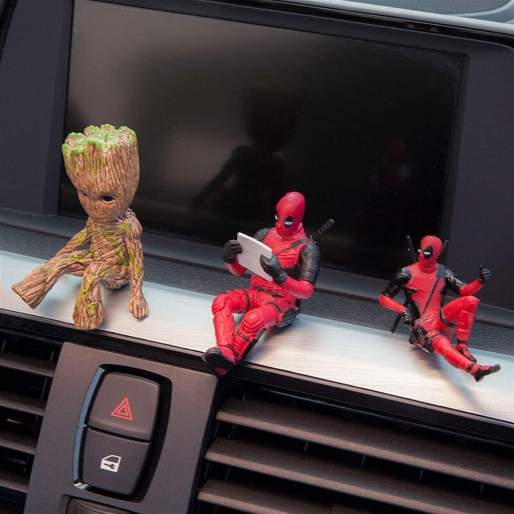 Ornements De Voiture Ornements Voiture Deadpool Personnalit/é Daction Ornement De Voiture Figure Sitting Mod/èle Anime Mini Doll D/écoration De Voiture Accessoires De Voiture Color Name : 6