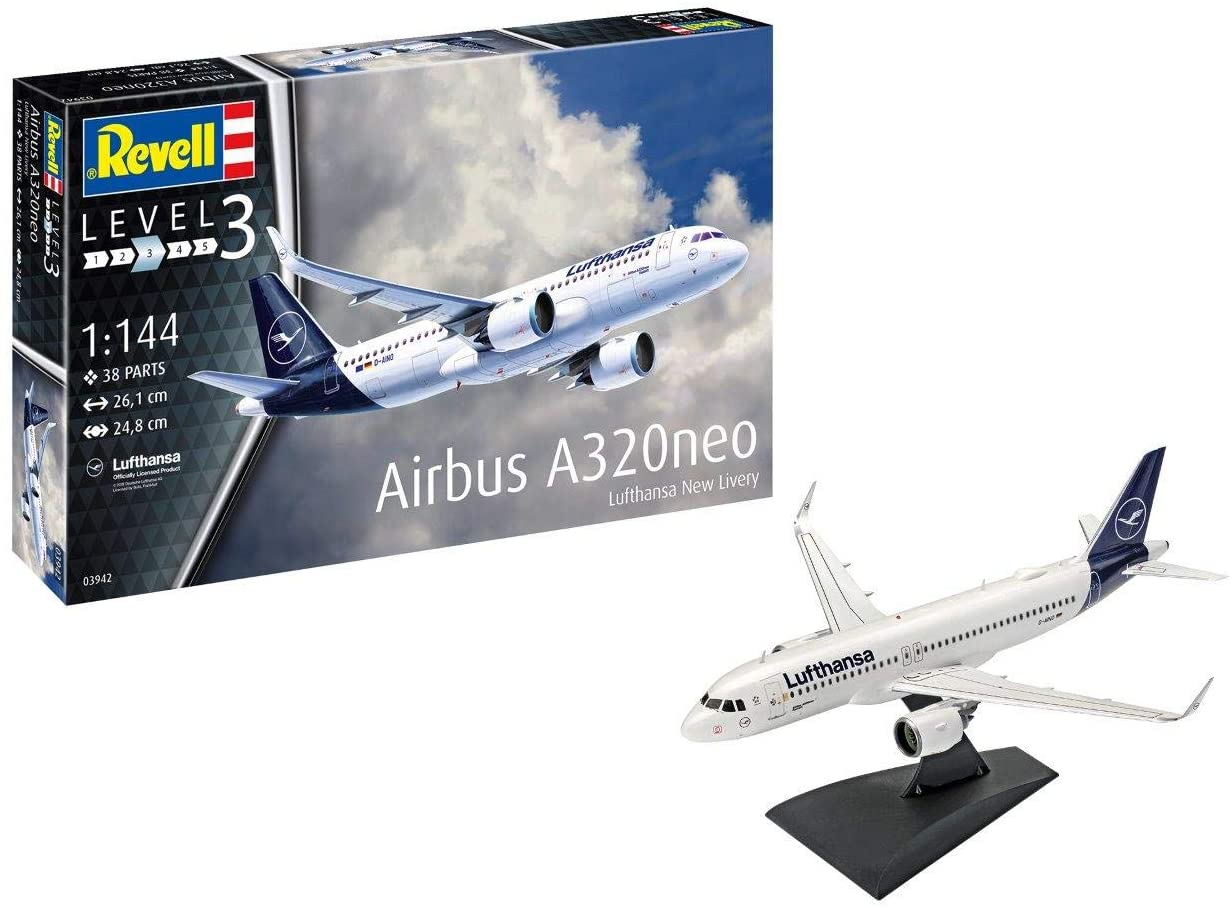 Revell 03942 Airbus A320 Neo Model Kit, 1:144 Scale, Multi-Color