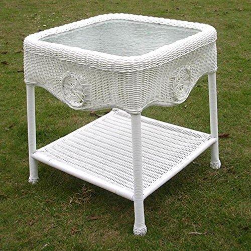 Glass Tops Wood Furniture - International Caravan 3196-WT-IC Furniture Piece Wicker Glass Top Side Table
