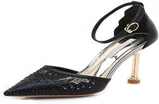 GTVERNH Chaussures pour femmes/9Cm Estivales Hauts Talons Les Sandales Mode Noir Fait De Boucles des Chaussures De Femmes.