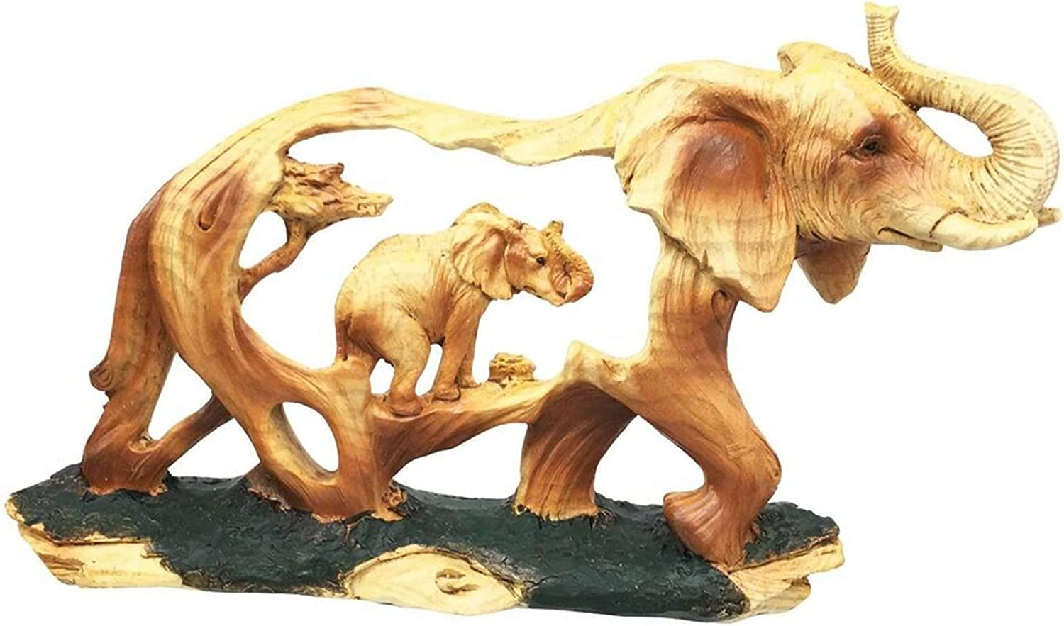 Rustic Faux Wood Noble Majestic African Safari Elephant With Calf Figurine Resin