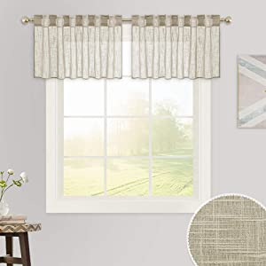 RYB HOME Sheer Curtains 18 inch - Semi Sheer Linen Curtains for Bedroom Window Decor, Rod Pocket & Back Tab Top Sunlight Glare Filtering Breezy Soft Voile Drapes, Taupe, 52 x 18-inches Long, 1 Pair