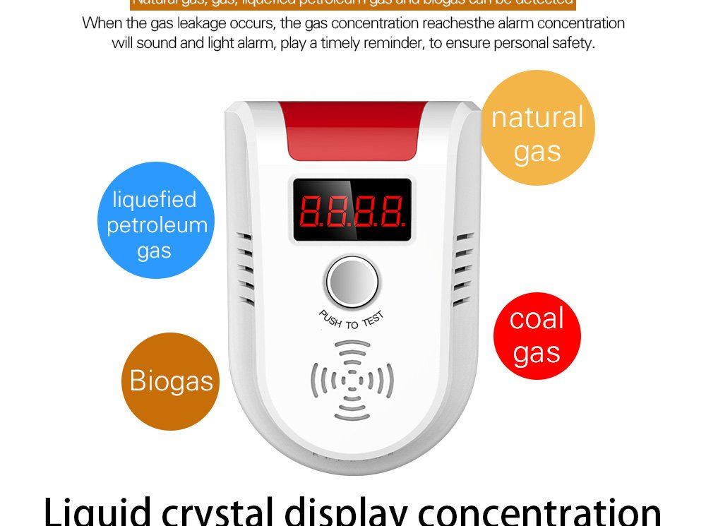 KERUI GD13 Home Universal Security Instruments liquefied petroleum gas natural gas methane Combustible Gas Detector Alarm Sensor System with Voice Warning prompt by KERUI (Image #5)