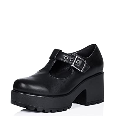 6c005ccbf Block Heel Cleated Sole Buckle Platform Ankle Boots Black Synthetic Leather  US 7