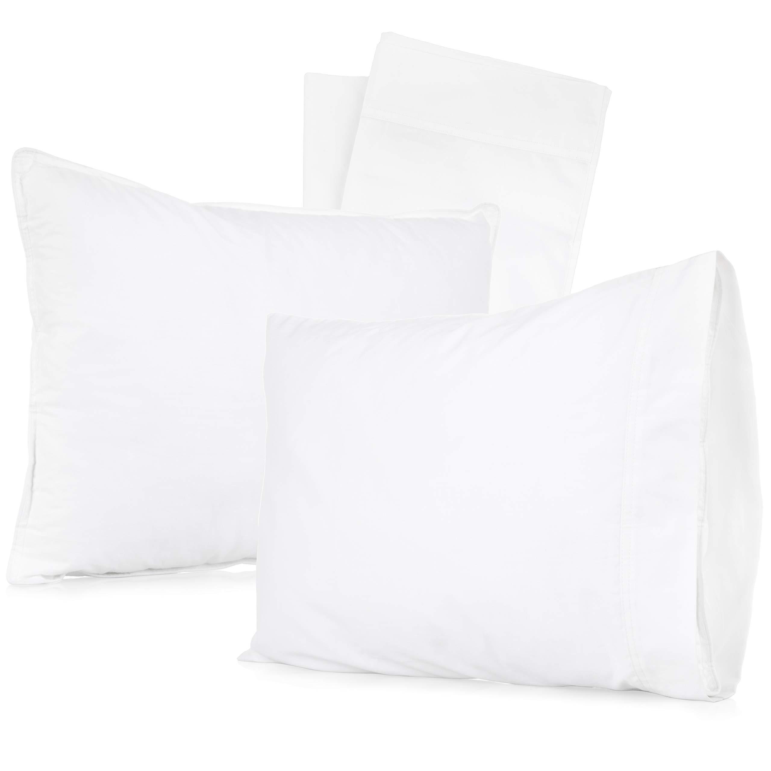 [4-Piece] 2 Pillows & 2 Pillowcases | Baby Toddler Pillows with Pillowcases | 13'' X 18'' Toddler Pillow Set | 100% Soft Organic Cotton | Zpex Baby Pillow & Pillowset by Zpex Baby Pillow