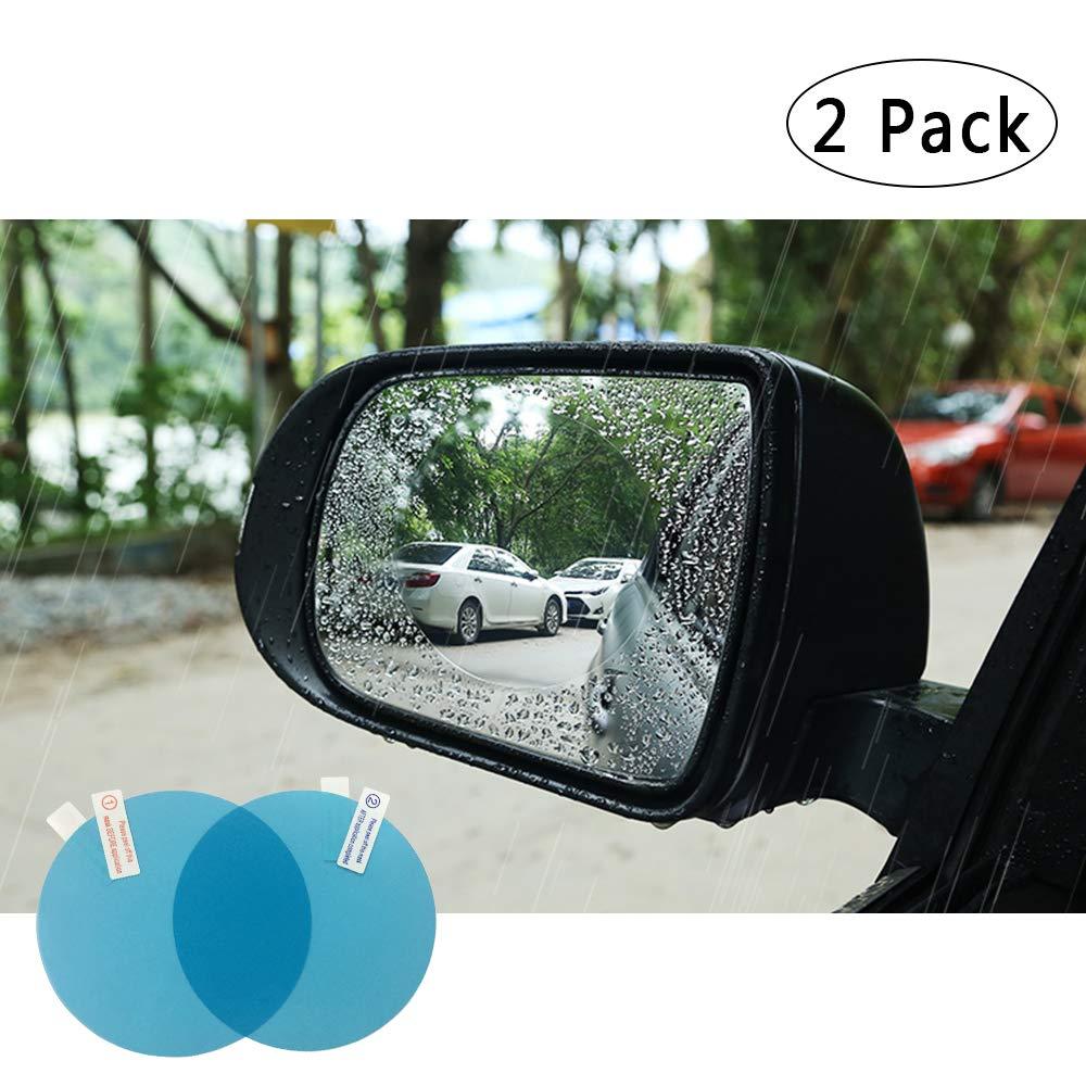 FMS 2 Pcs HD Car Rearview Mirror Rainproof Protective Film Rectangle Rainproof Film Nano Coating Waterproof Anti Fogging Rain Mist Water Glare Rectangle*2