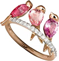 Gbell Women Fashion Fine 3 Birds Inlaid Ruby Rings Statement - Beautiful Jewelry Electroplated Rose Gold Animal...