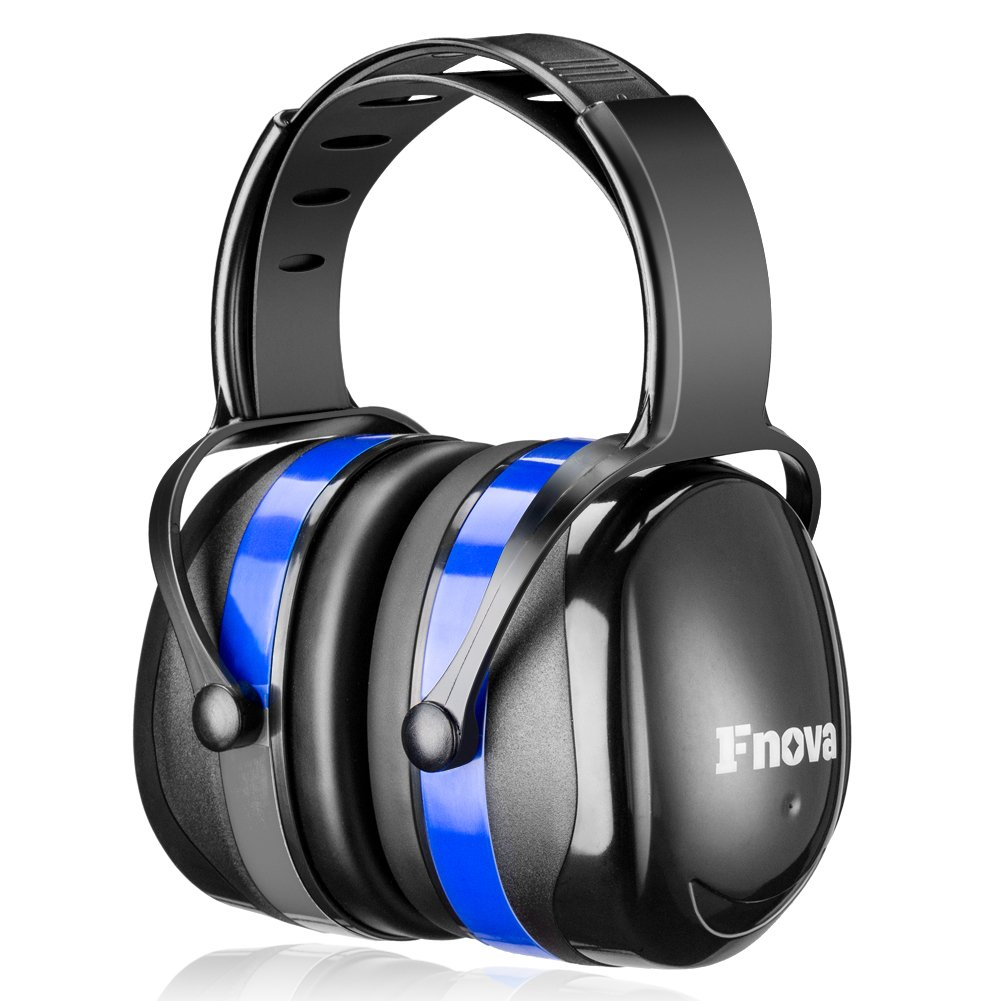 Ear protection, ear muffs, head muffs, headband by Fnova, size infinitely adjustable, suitable for adults and children, super light, soft and compact, blue