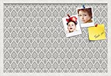 PinPix custom printed pin cork bulletin board made from canvas, Ikat Vintage Pewter 30x20 Inches (Completed Size) and framed in Satin White Frame (PinPix-Group-65)