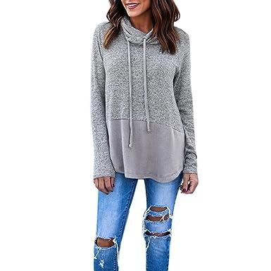Longra Mode Damen Sweatshirt Pullover mit Rollkragen Langarmshirts Damen  Patchwork Bluse Tunika Blusenshirt Damen Oberteile Tops 7d7d2e9e48